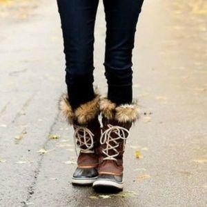SOREL Joan Of Artic Fur Trim Boots Tobacco Brown